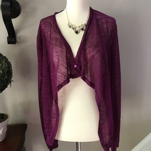 Loft Sheer Burgundy (Purple)  Cardigan Medium